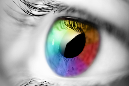 Photo of single eye in multiple colours